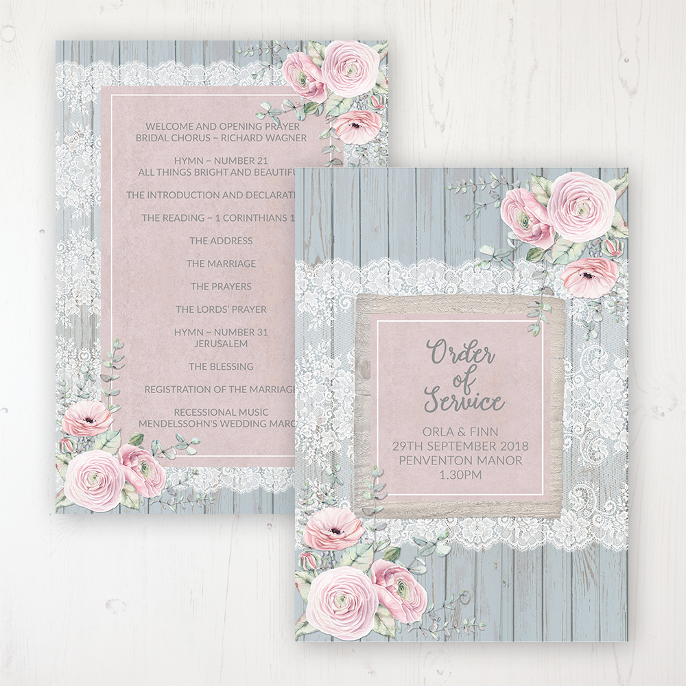 Dusty Flourish Wedding Order of Service - Card Personalised front and back