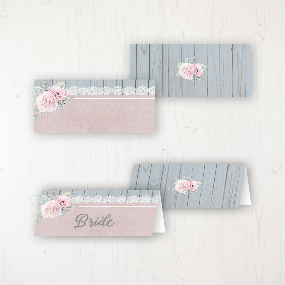 Dusty Flourish Wedding Place Name Cards Blank and Personalised with Flat or Folded Option