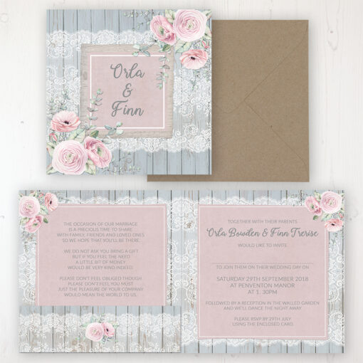 Dusty Flourish Wedding Invitation - Folded Personalised Front & Back with Pocket in inside cover. Includes Rustic Envelope