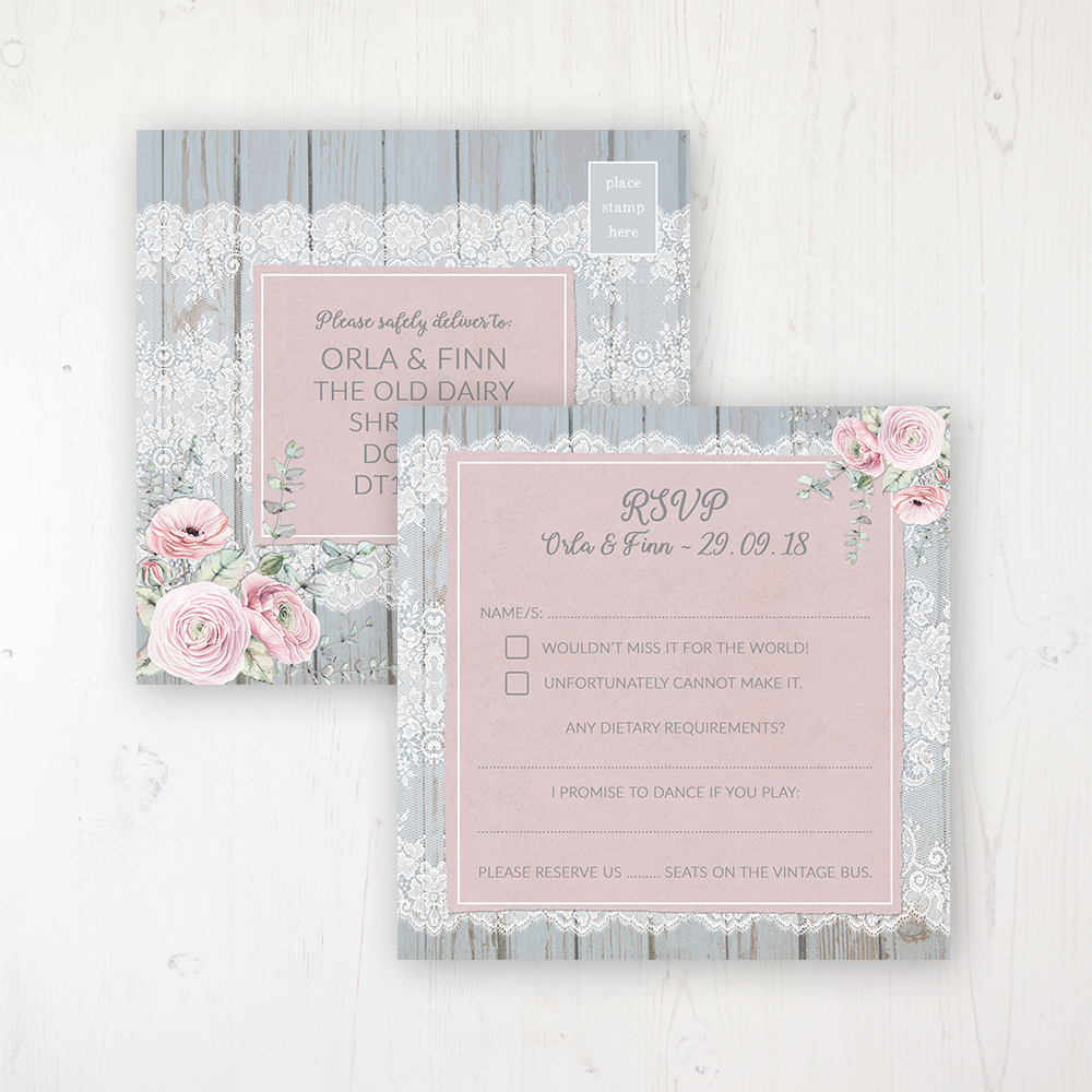 Dusty Flourish Wedding RSVP Postcard Personalised Front & Back