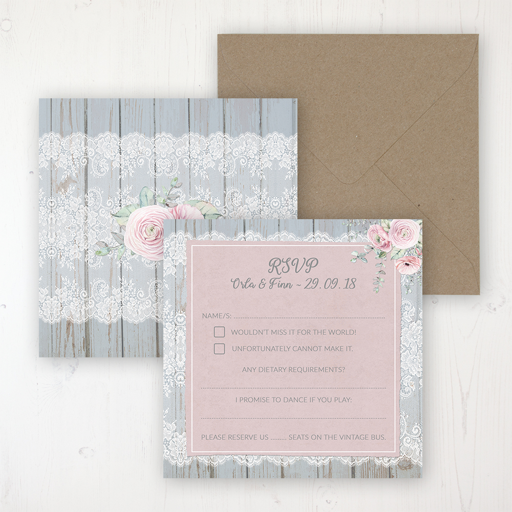 Dusty Flourish Wedding RSVP Personalised Front & Back with Rustic Envelope