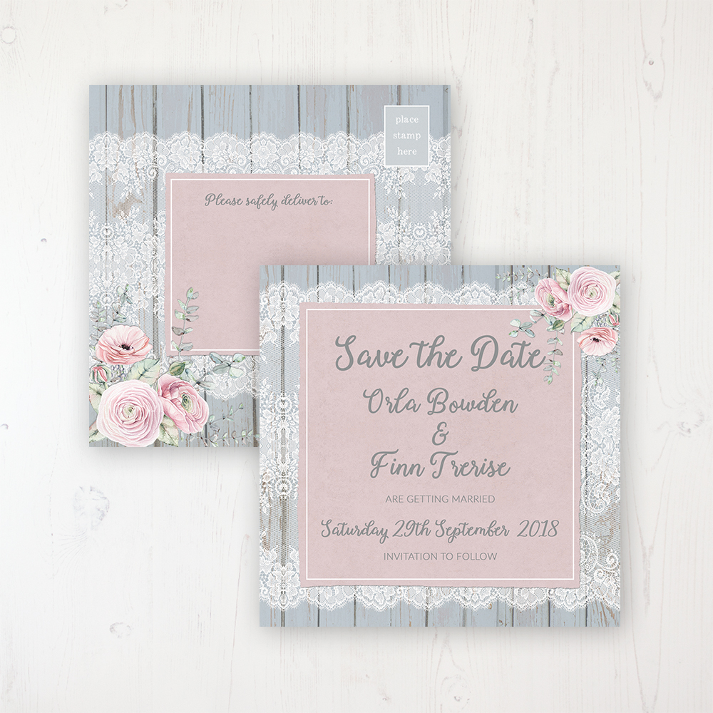 Dusty Flourish Wedding Save the Date Postcard Personalised Front & Back