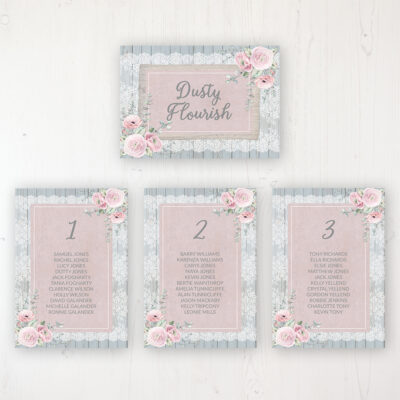Dusty Flourish Wedding Table Plan Cards Personalised with Table Names and Guest Names