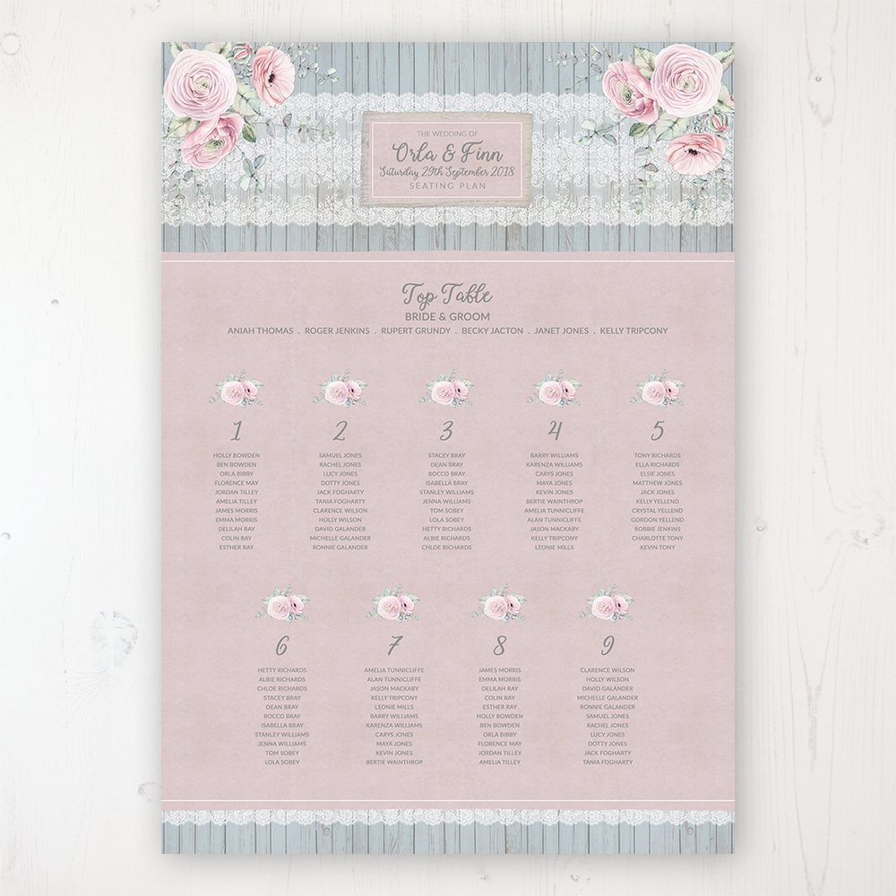 Dusty Flourish Wedding Table Plan Poster Personalised with Table and Guest Names