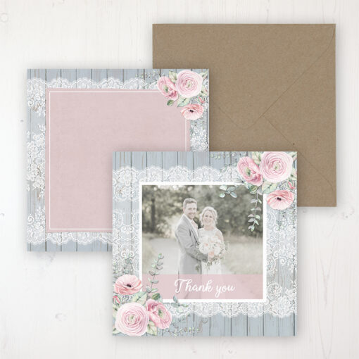 Dusty Flourish Wedding with a photo and with space to write own message