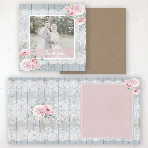 Dusty Flourish Wedding Thank You Card - Folded Personalised with a Message & Photo