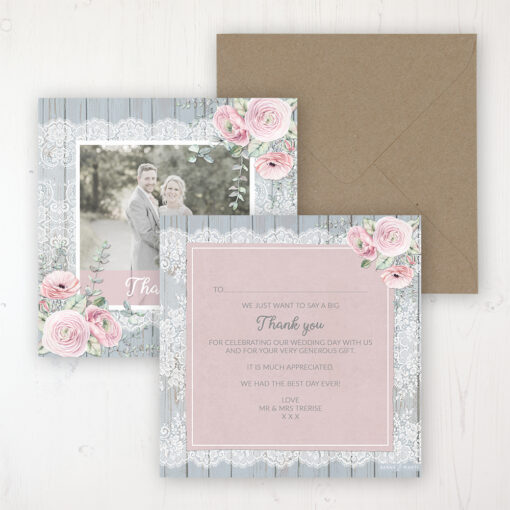 Dusty Flourish Wedding Thank You Card - Flat Personalised with a Message & Photo