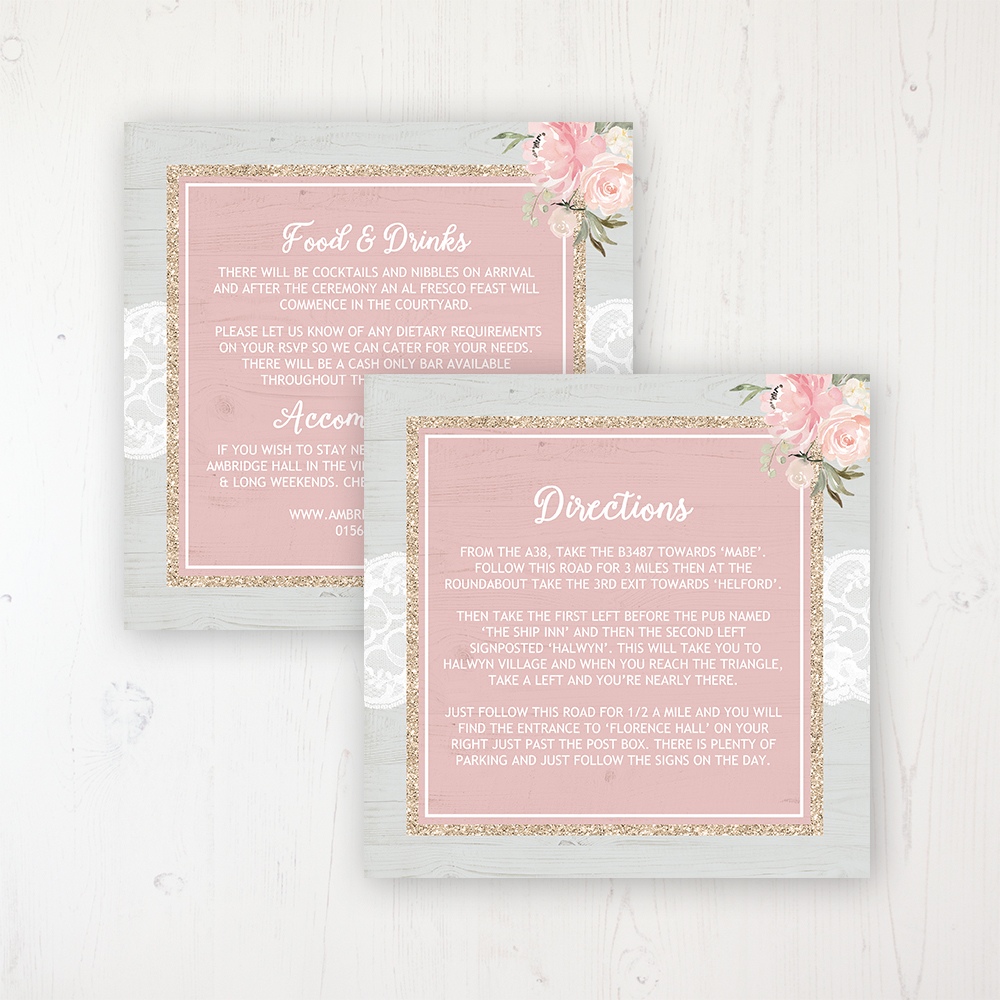 Enchanted Garden Wedding Info Insert Card Personalised Front & Back