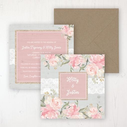 Enchanted Garden Wedding Invitation - Flat Personalised Front & Back with Rustic Envelope