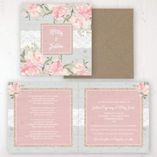 Enchanted Garden Wedding Invitation - Folded Personalised Front & Back with Rustic Envelope