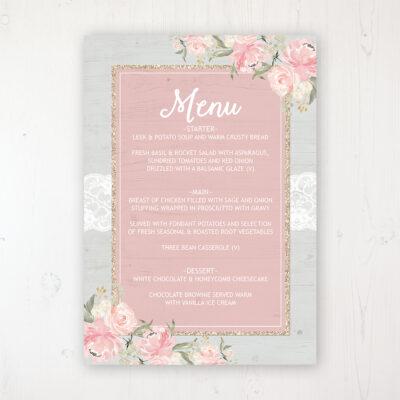 Enchanted Garden Wedding Menu Card Personalised to display on tables