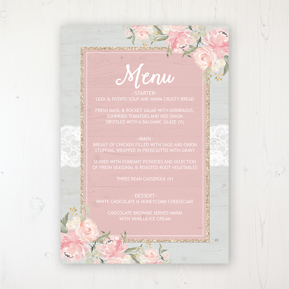 Enchanted Garden Wedding Menu Card Personalised to display on tables