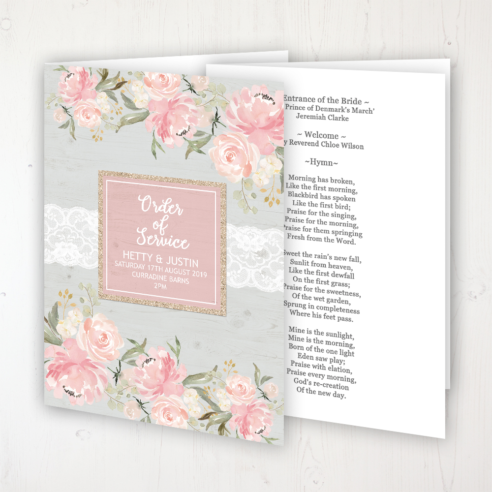 Enchanted Garden Wedding Order of Service - Booklet Personalised Front & Inside Pages