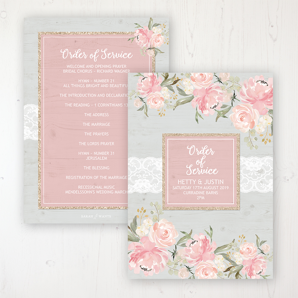 Enchanted Garden Wedding Order of Service - Card Personalised front and back