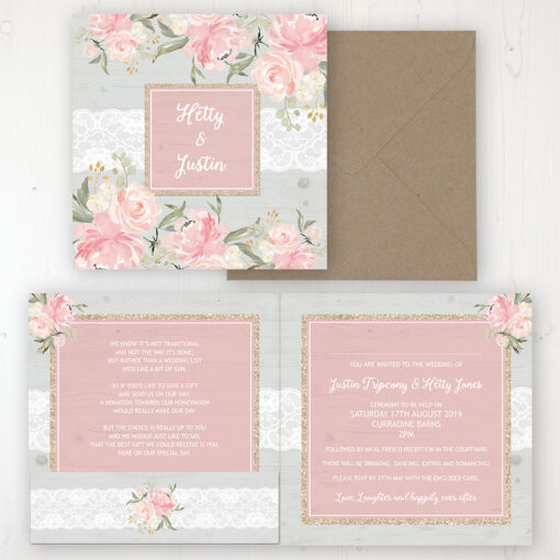Enchanted Garden Wedding Invitation - Folded Personalised Front & Back with Pocket in inside cover. Includes Rustic Envelope