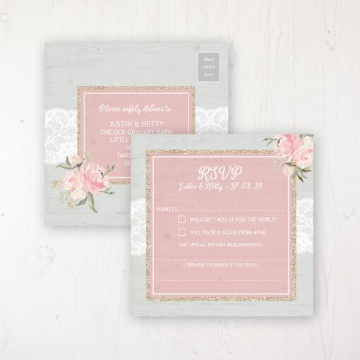 Enchanted Garden Wedding RSVP Postcard Personalised Front & Back