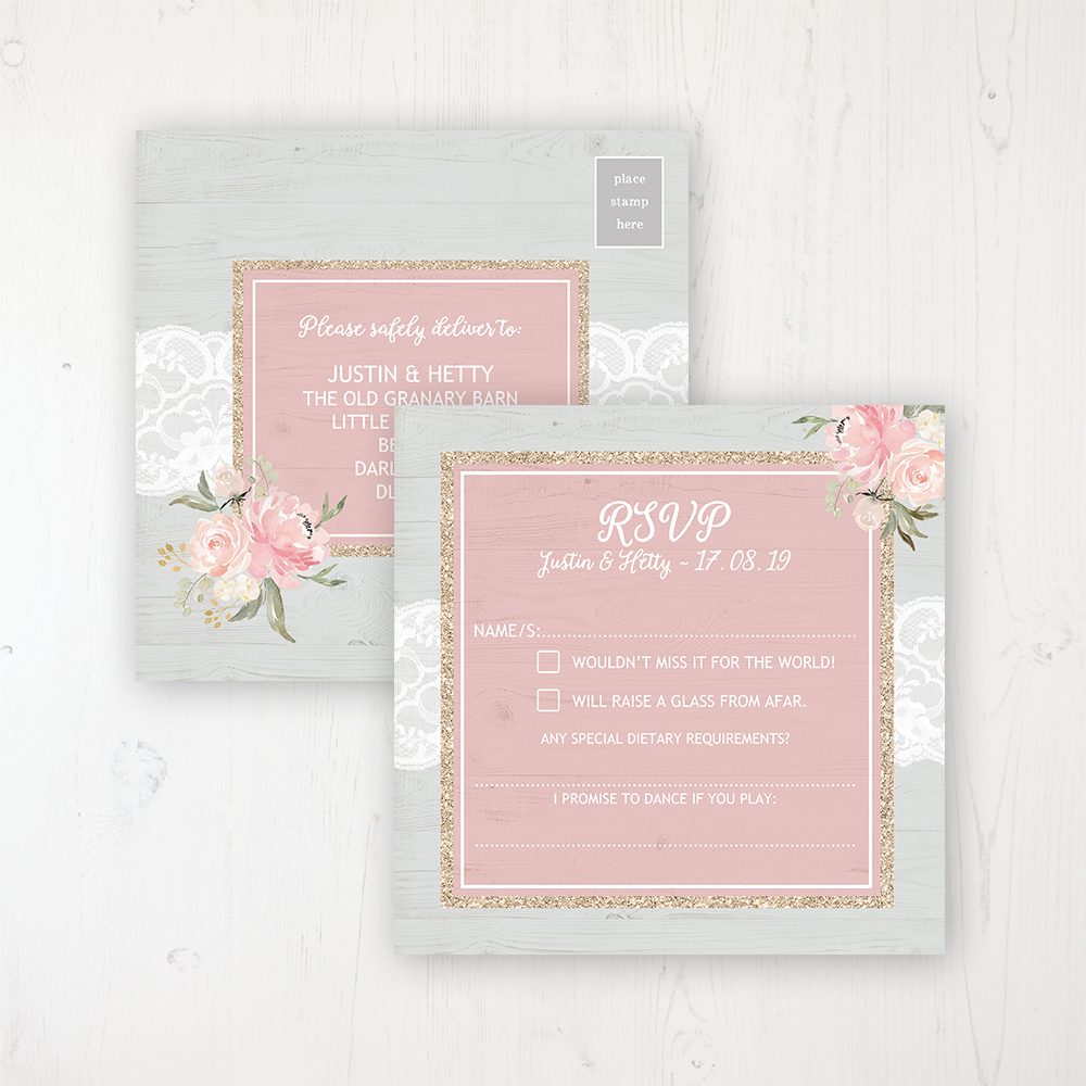 Enchanted Garden Wedding RSVP Postcard Personalised Front & Back