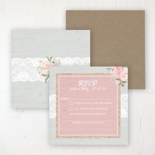 Enchanted Garden Wedding RSVP Personalised Front & Back with Rustic Envelope