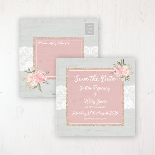 Enchanted Garden Wedding Save the Date Postcard Personalised Front & Back