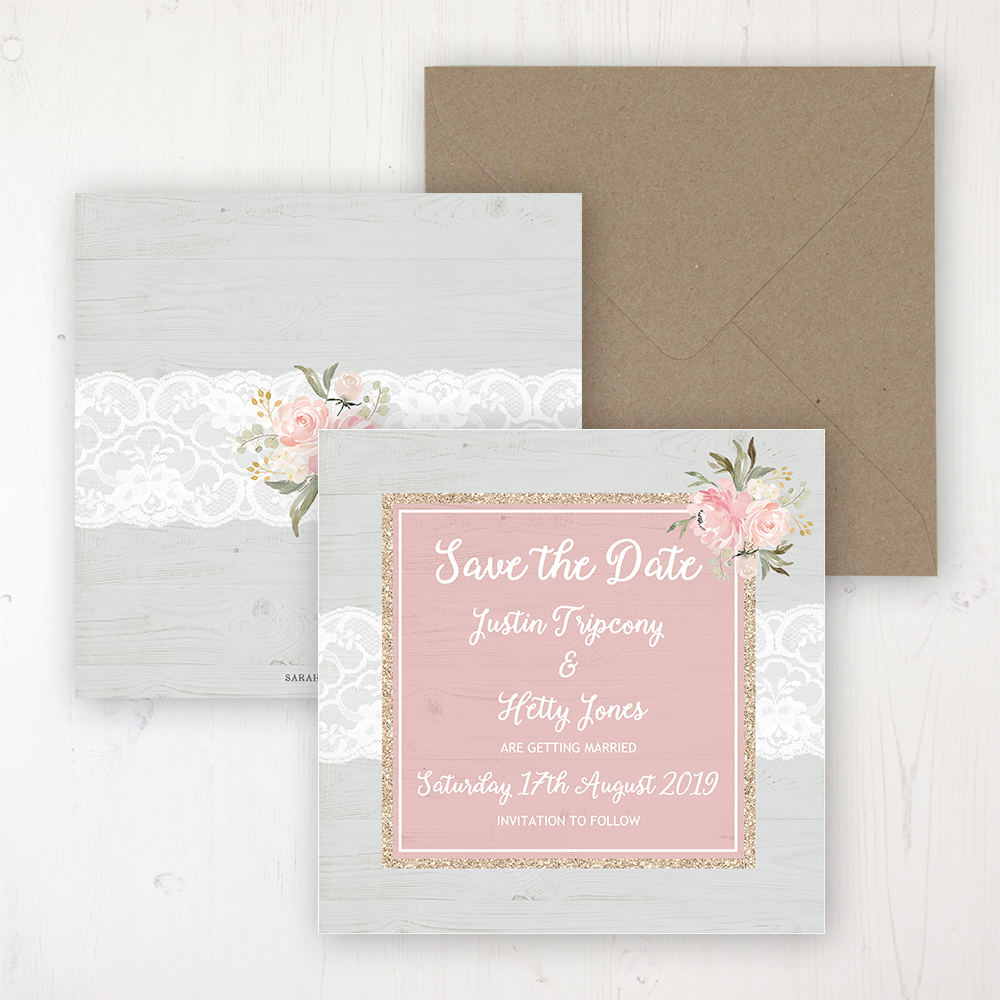 Enchanted Garden Wedding Save the Date Personalised Front & Back with Rustic Envelope
