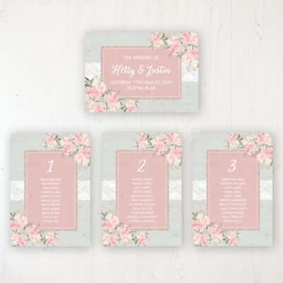 Enchanted Garden Wedding Table Plan Cards Personalised with Table Names and Guest Names