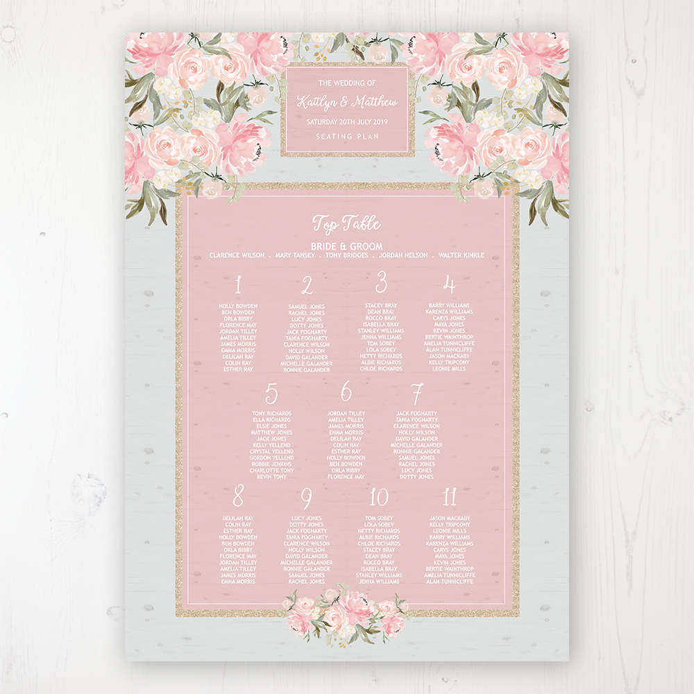 Enchanted Garden Wedding Table Plan Poster Personalised with Table and Guest Names