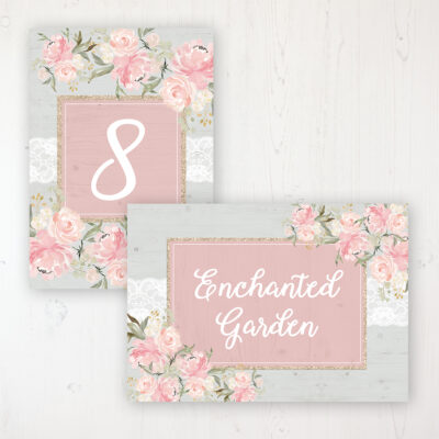 Enchanted Garden Wedding Table Name & Number Personalised Table Name Card and Number Card