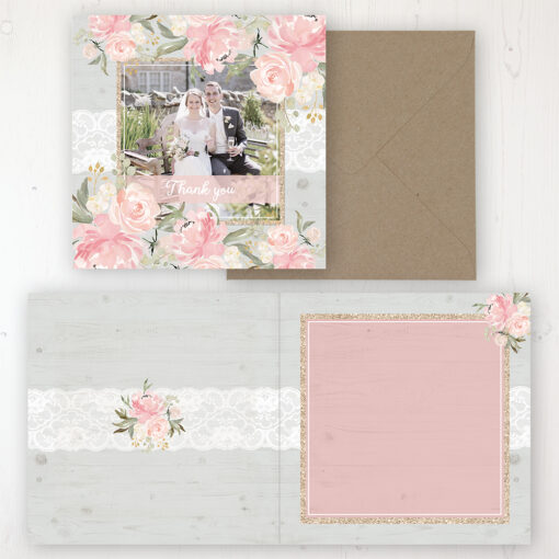 Enchanted Garden Wedding Thank You Card - Folded Personalised with a Message & Photo