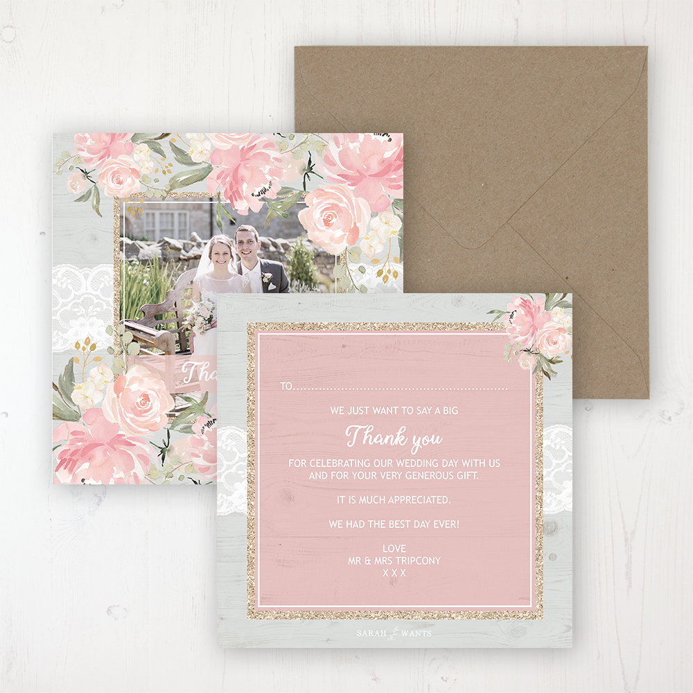 Enchanted Garden Wedding Thank You Card - Flat Personalised with a Message & Photo