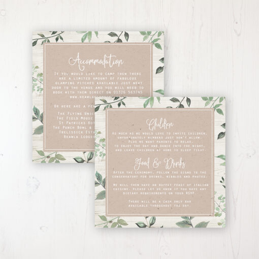 Evergreen Forest Wedding Info Insert Card Personalised Front & Back