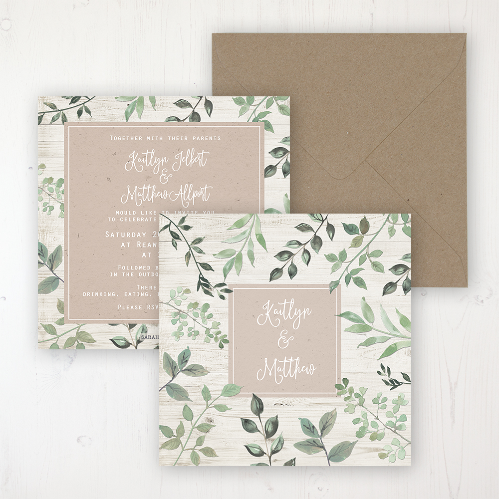 Evergreen Forest Wedding Invitation - Flat Personalised Front & Back with Rustic Envelope