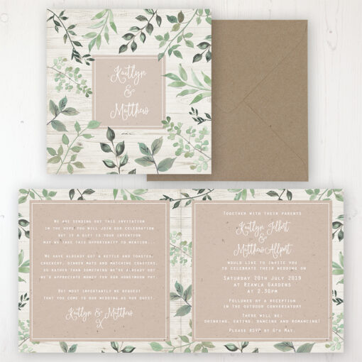 Evergreen Forest Wedding Invitation - Folded Personalised Front & Back with Rustic Envelope