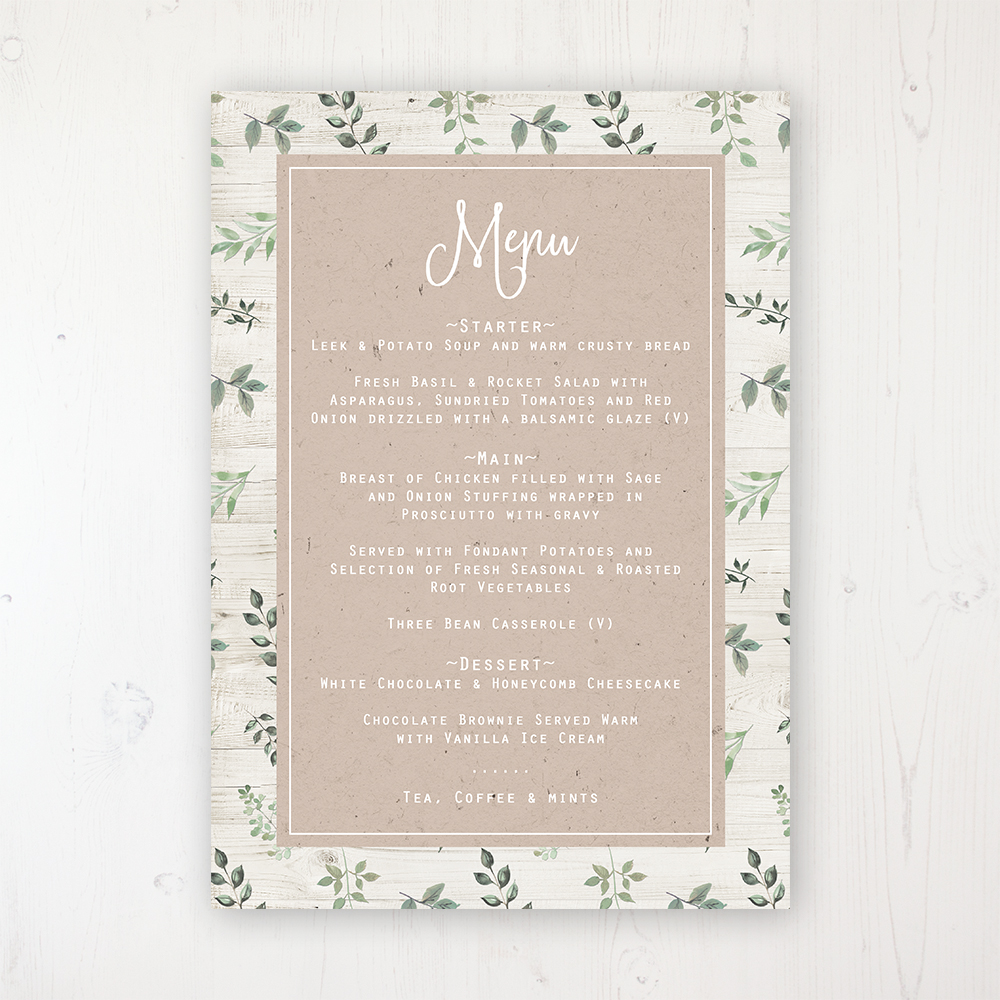 Evergreen Forest Wedding Menu Card Personalised to display on tables