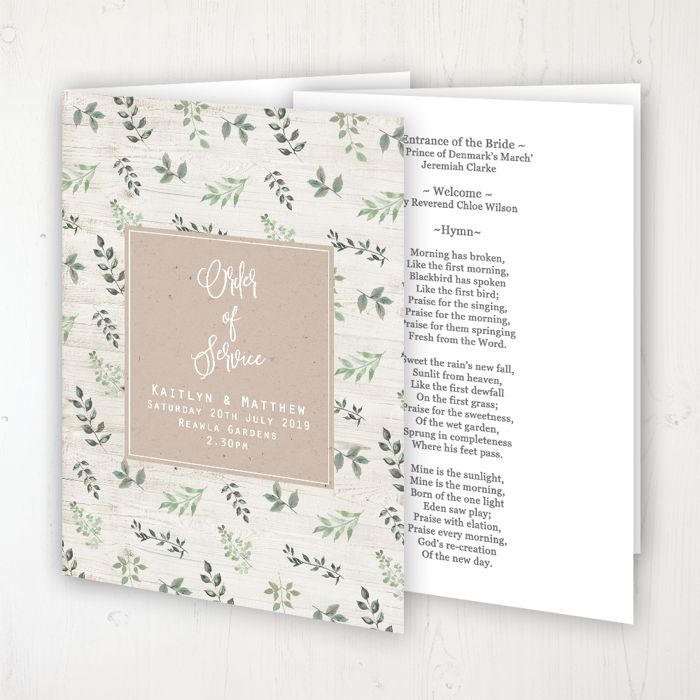 Evergreen Forest Wedding Order of Service - Booklet Personalised Front & Inside Pages