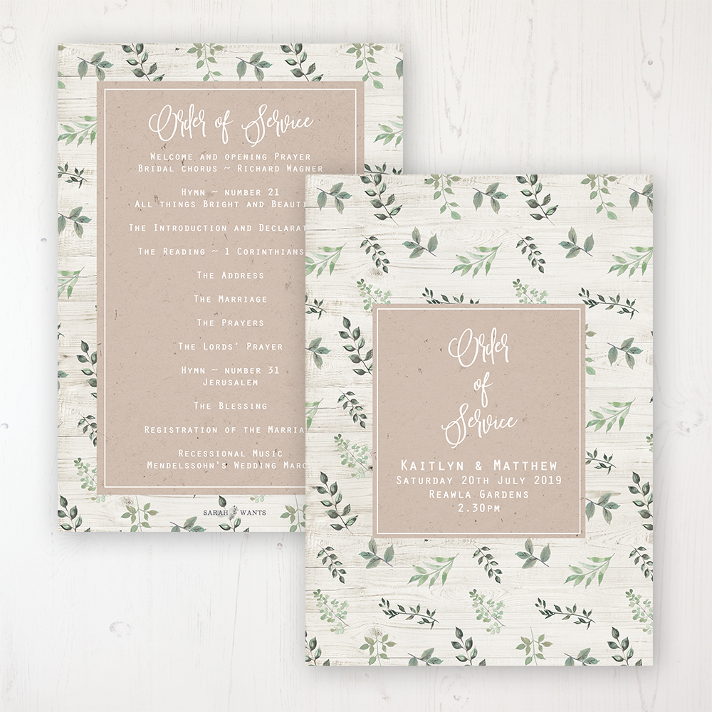 Evergreen Forest Wedding Order of Service - Card Personalised front and back