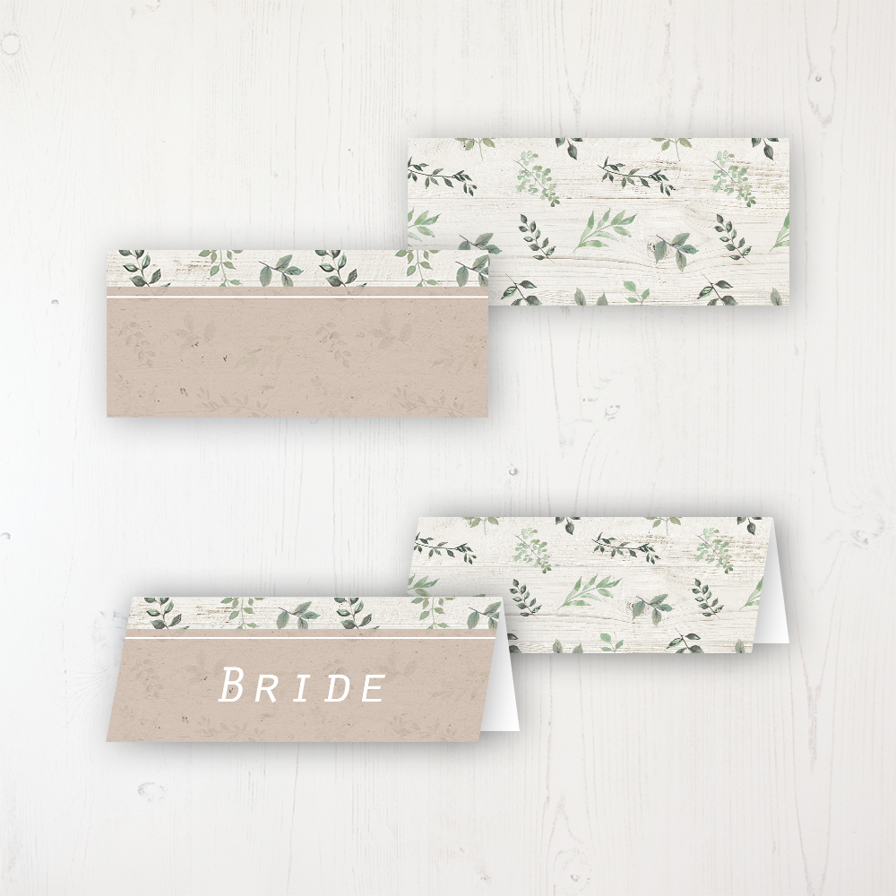 Evergreen Forest Wedding Place Name Cards Blank and Personalised with Flat or Folded Option