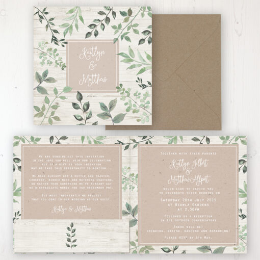 Evergreen Forest Wedding Invitation - Folded Personalised Front & Back with Pocket in inside cover. Includes Rustic Envelope