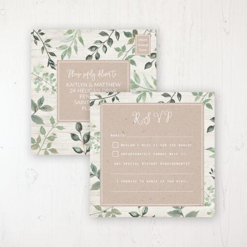 Evergreen Forest Wedding RSVP Postcard Personalised Front & Back