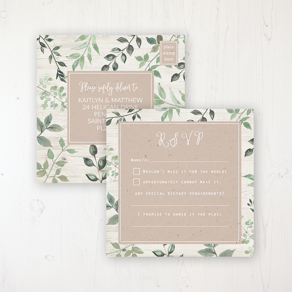 Evergreen Forest Wedding RSVP Postcard Personalised Front & Back