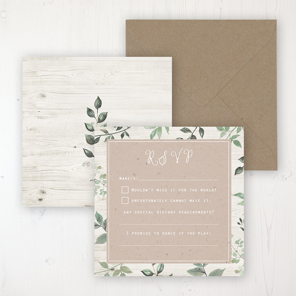 Evergreen Forest Wedding RSVP Personalised Front & Back with Rustic Envelope