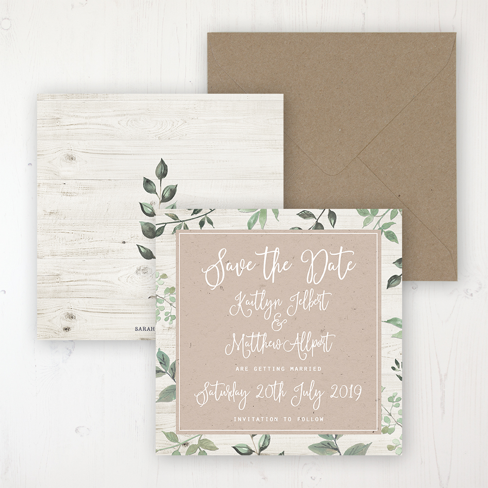 Evergreen Forest Wedding Save the Date Personalised Front & Back with Rustic Envelope