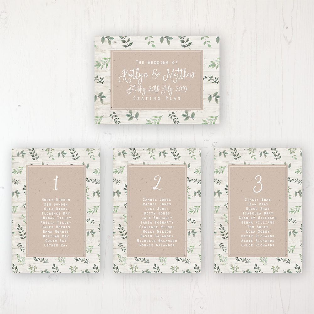 Evergreen Forest Wedding Table Plan Cards Personalised with Table Names and Guest Names