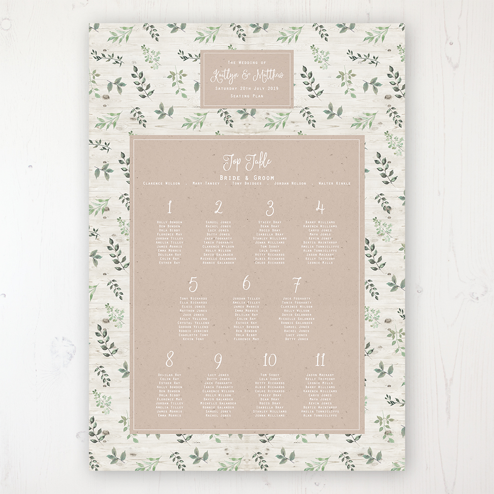 Evergreen Forest Wedding Table Plan Poster Personalised with Table and Guest Names