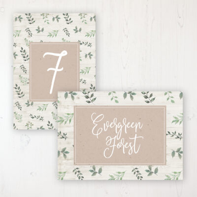Evergreen Forest Wedding Table Name & Number Personalised Table Name Card and Number Card