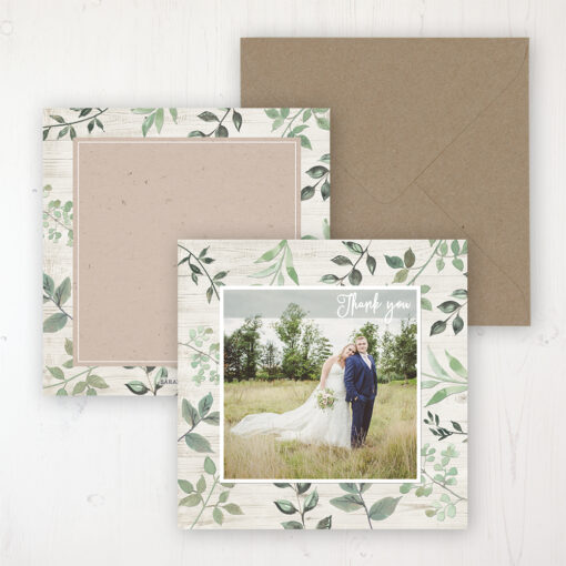 Evergreen Forest Wedding with a photo and with space to write own message