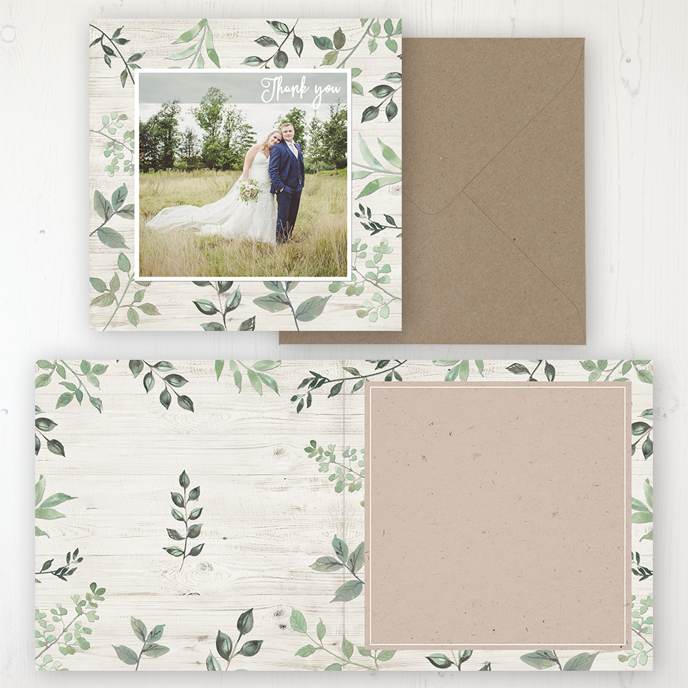Evergreen Forest Wedding Thank You Card - Folded Personalised with a Message & Photo