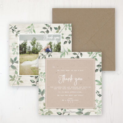 Evergreen Forest Wedding Thank You Card - Flat Personalised with a Message & Photo