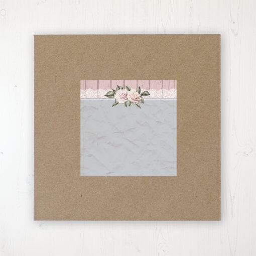 Powder Rose Wedding Envelope Label on Rustic Brown Envelope
