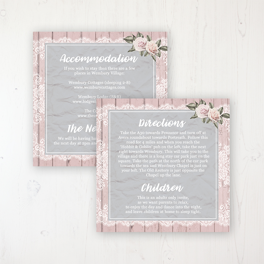 Powder Rose Wedding Info Insert Card Personalised Front & Back