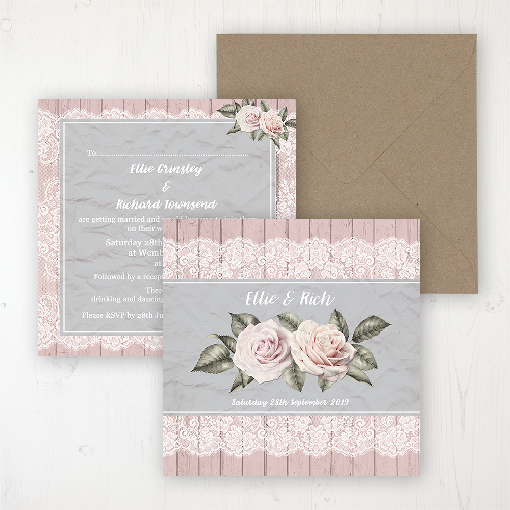 Powder Rose Wedding Invitation - Flat Personalised Front & Back with Rustic Envelope